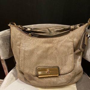 COACH Kristin Python Embossed Leather Shoulder Bag